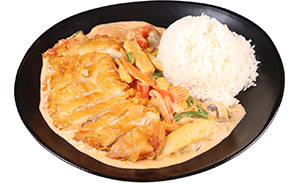 Thai curry with crispy chicken
